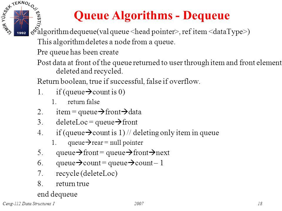 Ceng-112 Data Structures I 2007 18 Queue Algorithms - Dequeue algorithm dequeue(val queue, ref item ) This algorithm deletes a node from a queue.