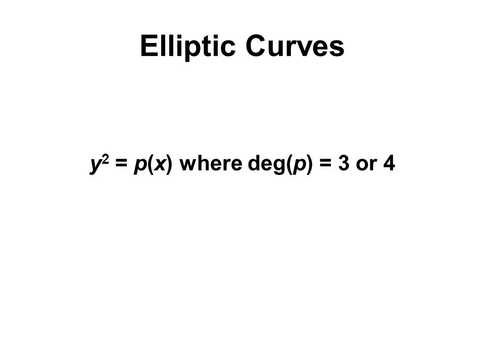 Elliptic Curves y 2 = p(x) where deg(p) = 3 or 4