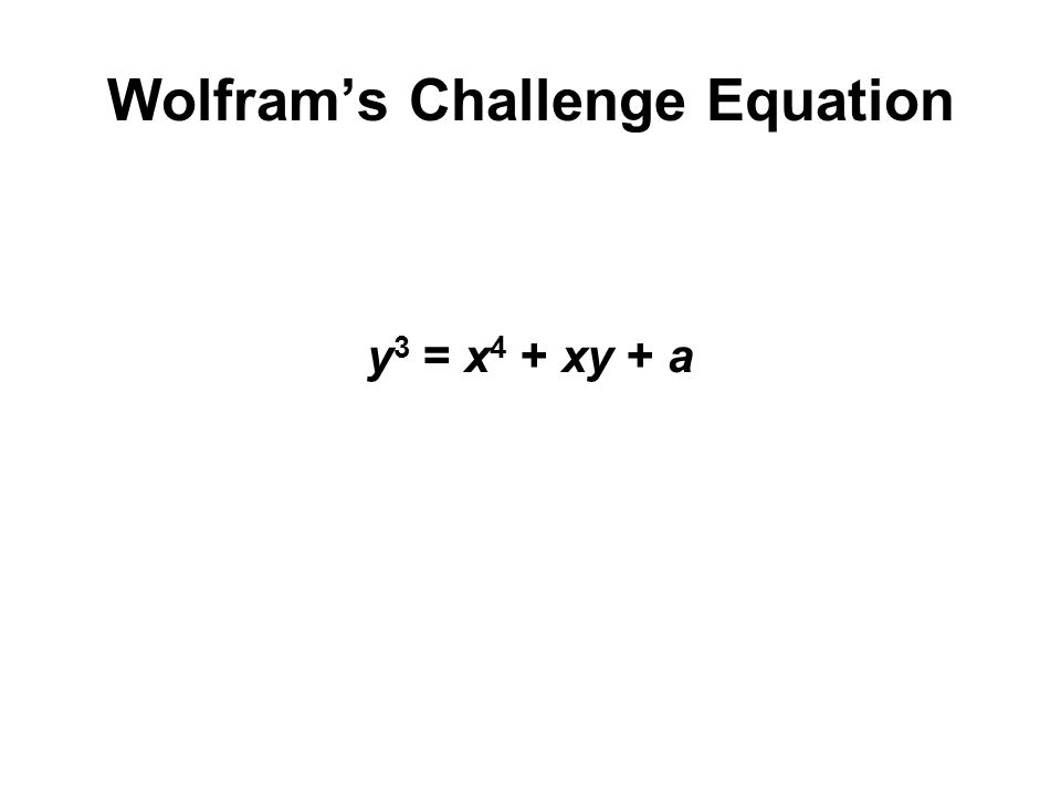 Wolfram's Challenge Equation y 3 = x 4 + xy + a