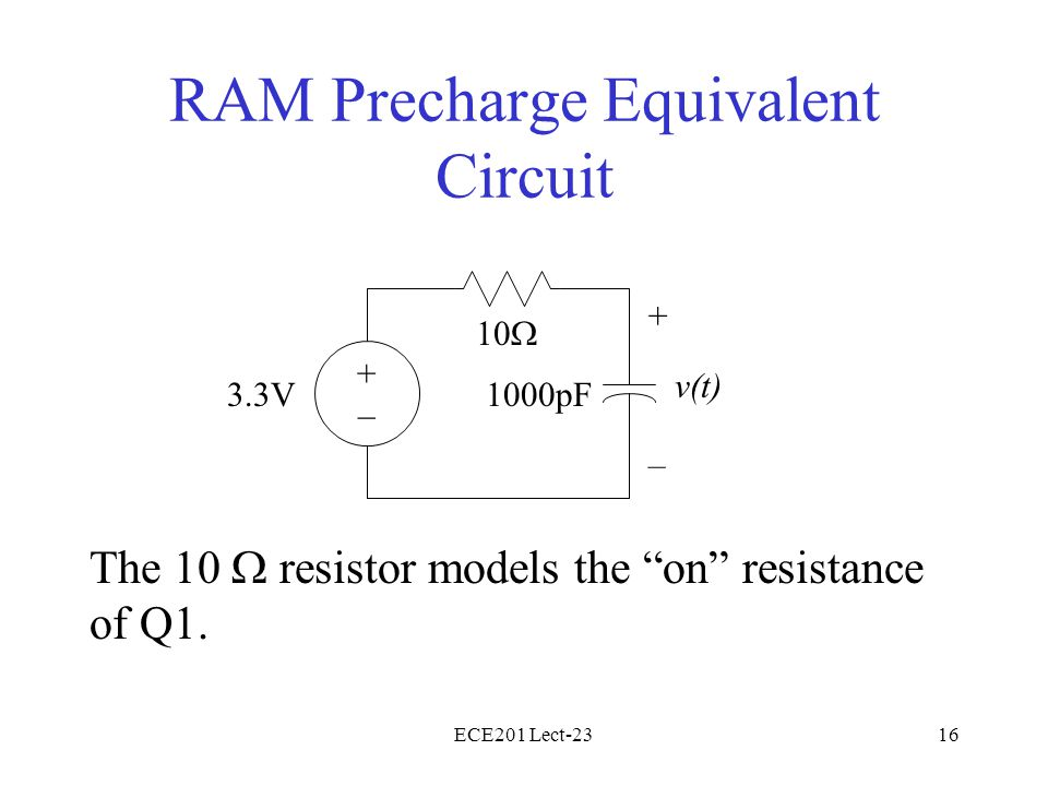 ECE201 Lect-2316 RAM Precharge Equivalent Circuit The 10  resistor models the on resistance of Q1.
