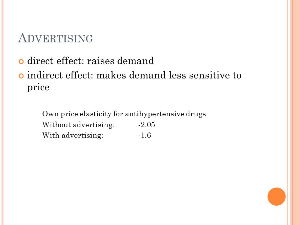 A DVERTISING direct effect: raises demand indirect effect: makes demand less sensitive to price Own price elasticity for antihypertensive drugs Without advertising: -2.05 With advertising:-1.6