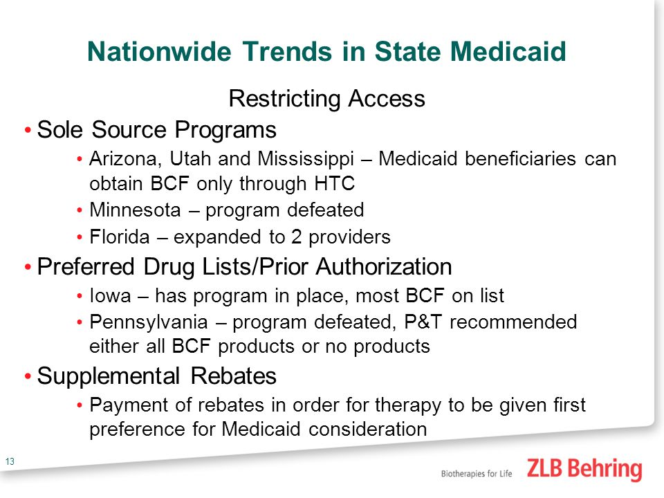 12 State Medicaid State government insurance program to insure the poor States set the rules and regulations Percent above the poverty level to be eligible How much to reimburse What therapies to cover Federal and state dollars are used to fund Medicaid Amount of federal match depends on the poverty level of a particular state.