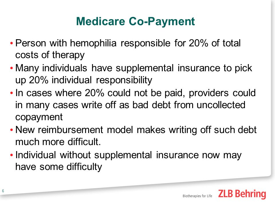 6 Medicare Co-Payment Person with hemophilia responsible for 20% of total costs of therapy Many individuals have supplemental insurance to pick up 20% individual responsibility In cases where 20% could not be paid, providers could in many cases write off as bad debt from uncollected copayment New reimbursement model makes writing off such debt much more difficult.