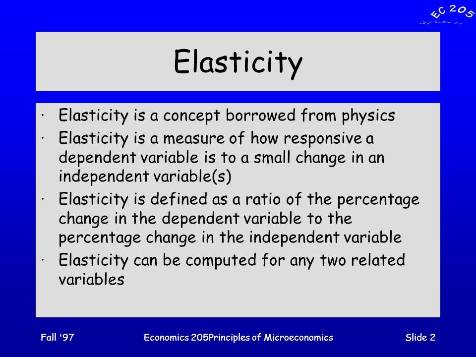 Fall 97Economics 205Principles of MicroeconomicsSlide 33 D1D1 Income Elasticity [inferior goods] A decrease in income [ -  Y] increases demand.
