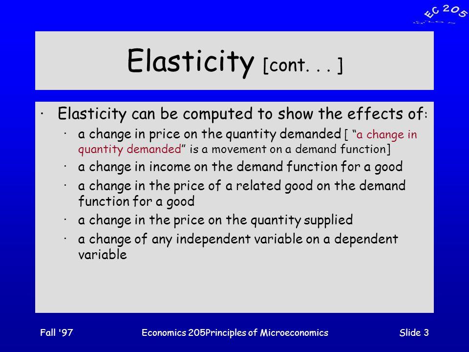 Fall 97Economics 205Principles of MicroeconomicsSlide 3 Elasticity [cont...
