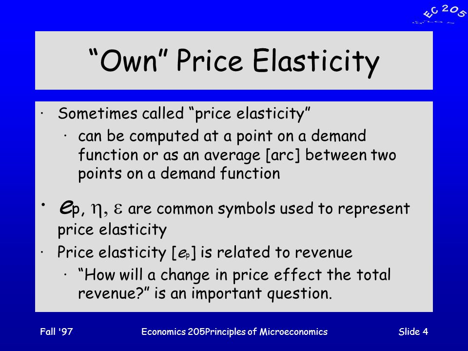 Fall 97Economics 205Principles of MicroeconomicsSlide 5 Elasticity as a measure of responsiveness ·The law of demand tells us that as the price of a good increases the quantity that will be bought decreases but does not tell us by how much.