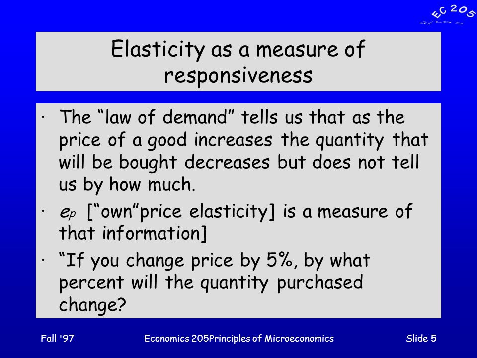 Fall 97Economics 205Principles of MicroeconomicsSlide 36 Cross-Price Elasticity ·Cross-price elasticity [e xy ] is a measure of how responsive the demand for a good is to changes in the prices of related goods.