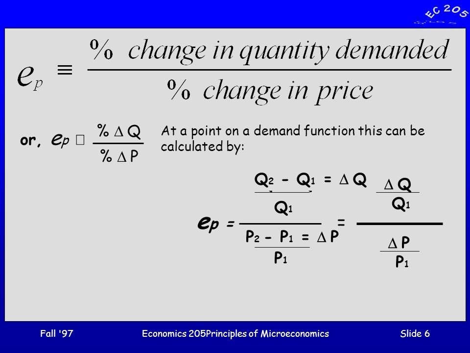 Fall 97Economics 205Principles of MicroeconomicsSlide 17 Use of Price Elasticity ·Ruffin and Gregory [Principles of Economics, Addison- Wesley, 1997, p 101] report that: ·short run  e p  of gasoline is =.15 (inelastic) ·long run  e p  of gasoline is =.78 (inelastic) ·short run  e p  of electricity is =.