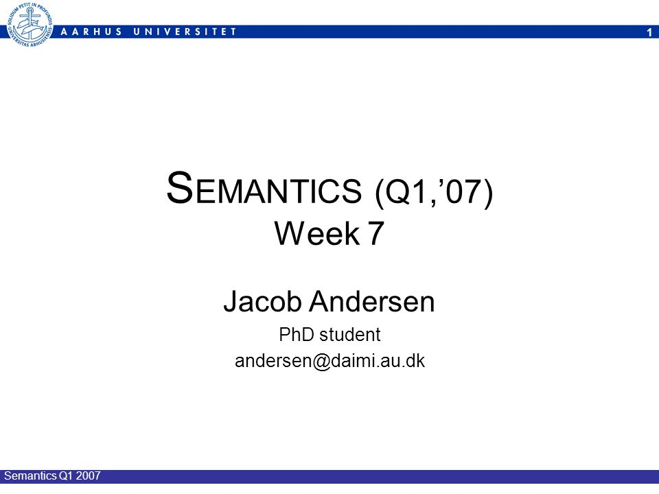 12 Semantics Q1 2007 Summary: Weak Bisimilarity (  ) Properties of (  ): an equivalence relation: »reflexive, symmetric, and transitive the largest weak bisimulation: »for proving bisimilarity (exhibit a bisimulation) weak bisimulation game: »for proving non-bisimilarity (winning attack strategy) not a congruence: »P  Q => C[P]  C[Q] obeys the following algebraic laws: »' + ' and ' | ' commutative, associative, and ' 0 ' neutrality, … abstracts away from internal tau-actions