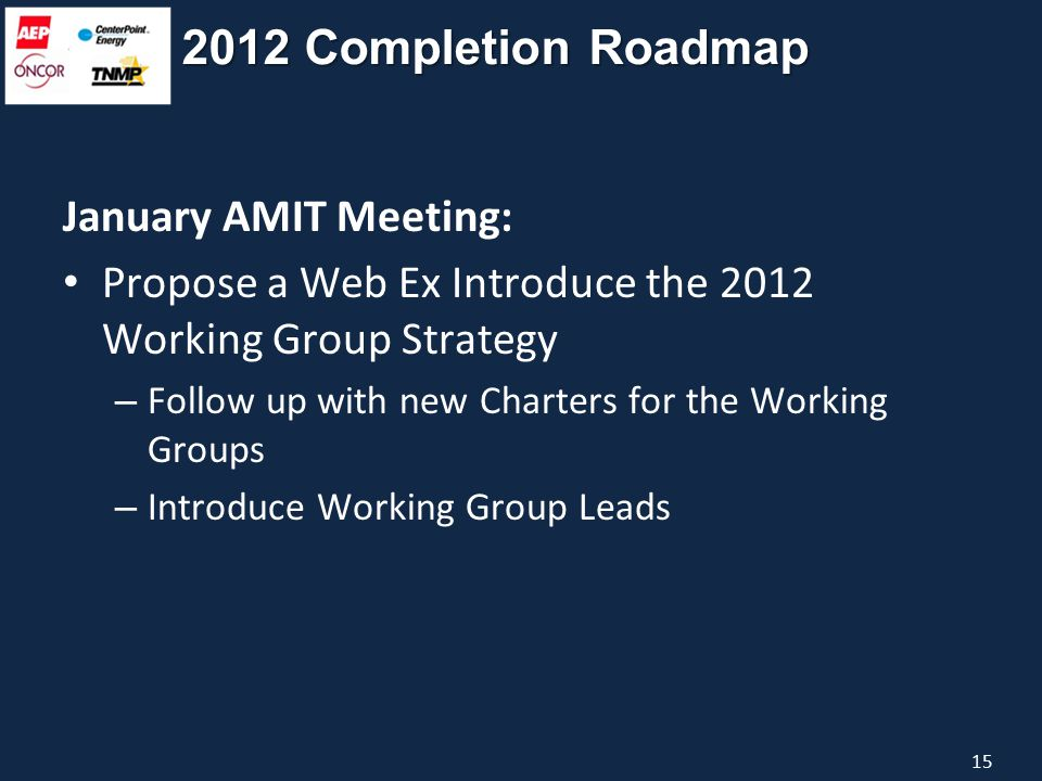 2012 Completion Roadmap January AMIT Meeting: Propose a Web Ex Introduce the 2012 Working Group Strategy – Follow up with new Charters for the Working Groups – Introduce Working Group Leads 15