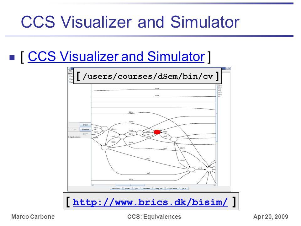 Marco CarboneCCS: Equivalences Apr 20, 2009 CCS Visualizer and Simulator [ CCS Visualizer and Simulator ]CCS Visualizer and Simulator [ http://www.brics.dk/bisim/ ] http://www.brics.dk/bisim/ [ /users/courses/dSem/bin/cv ]