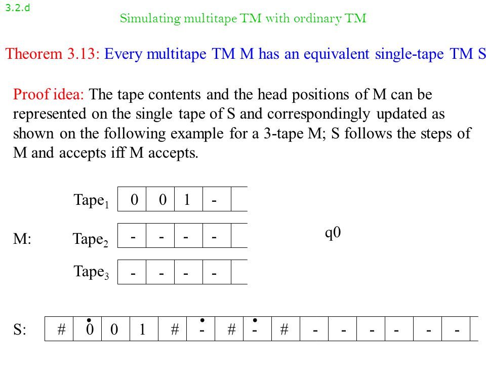 Multitape Turing machines: Example 3.2.c Design a fragment of a 2-tape TM that swaps the contents of the tapes, from the position where the heads are at the beginning and there are no blanks followed by non-blank symbols.