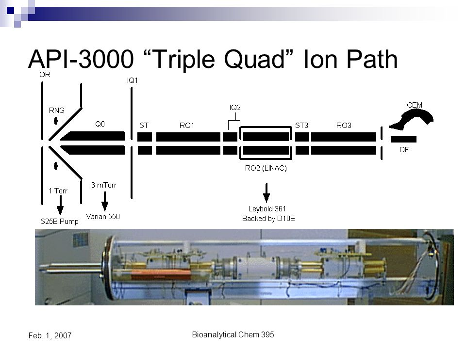 Bioanalytical Chem 395 Feb. 1, 2007 Typical Single quad MS Ion Path: Basic, single MS analyzer