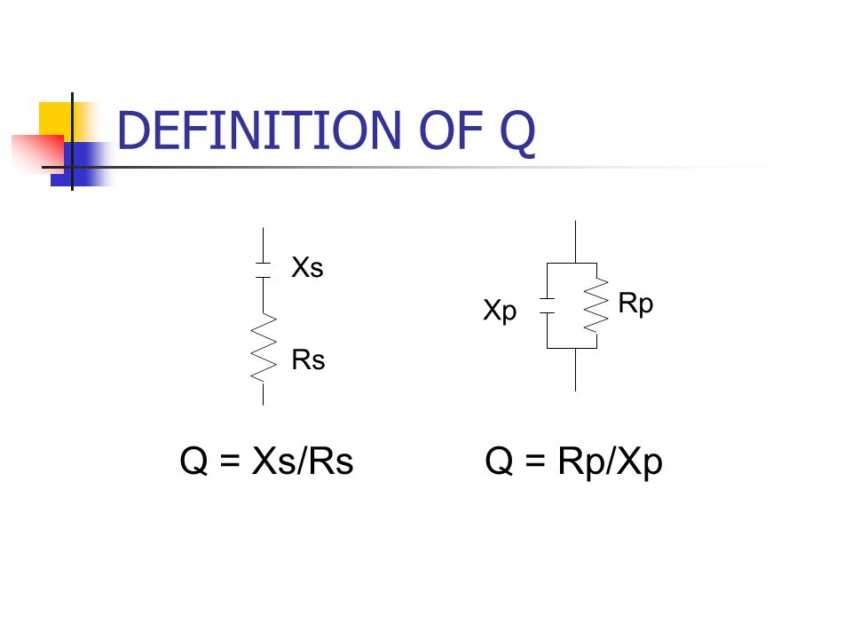 DEFINITION OF Q Q = Rp/XpQ = Xs/Rs Xp Rp Xs Rs