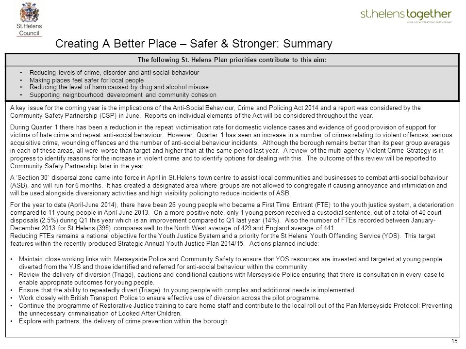 15 Creating A Better Place – Safer & Stronger: Summary A key issue for the coming year is the implications of the Anti-Social Behaviour, Crime and Pol