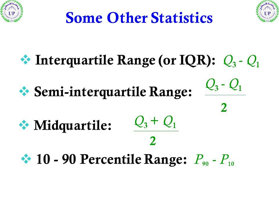  Interquartile Range (or IQR): Q 3 - Q 1  10 - 90 Percentile Range: P 90 - P 10  Semi-interquartile Range: 2 Q 3 - Q 1  Midquartile: 2 Q 3 + Q 1 S