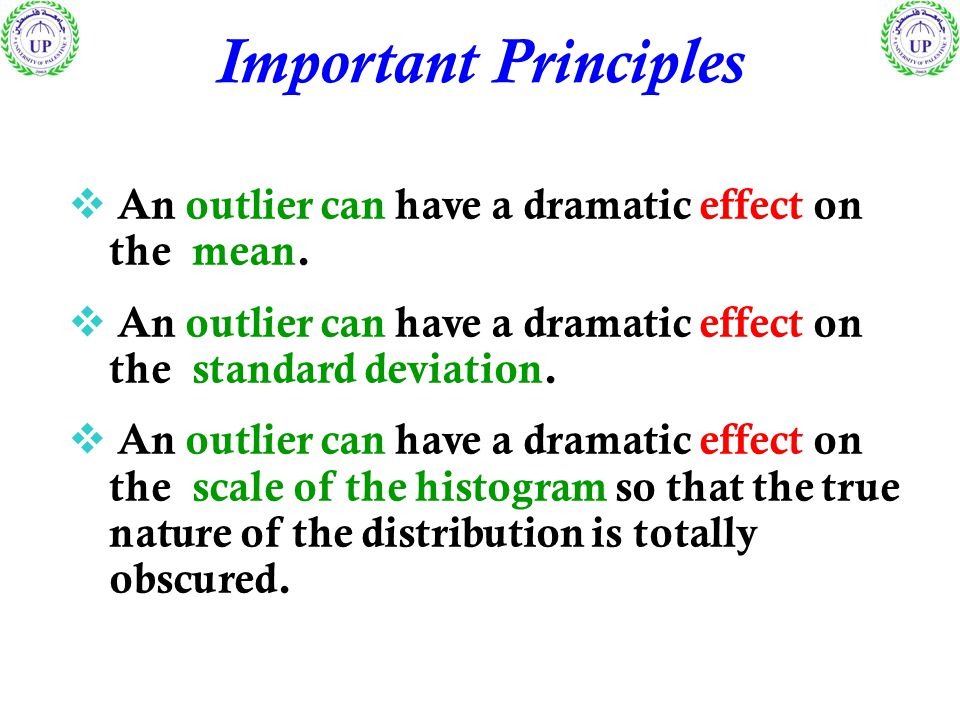 Important Principles  An outlier can have a dramatic effect on the mean.  An outlier can have a dramatic effect on the standard deviation.  An outl