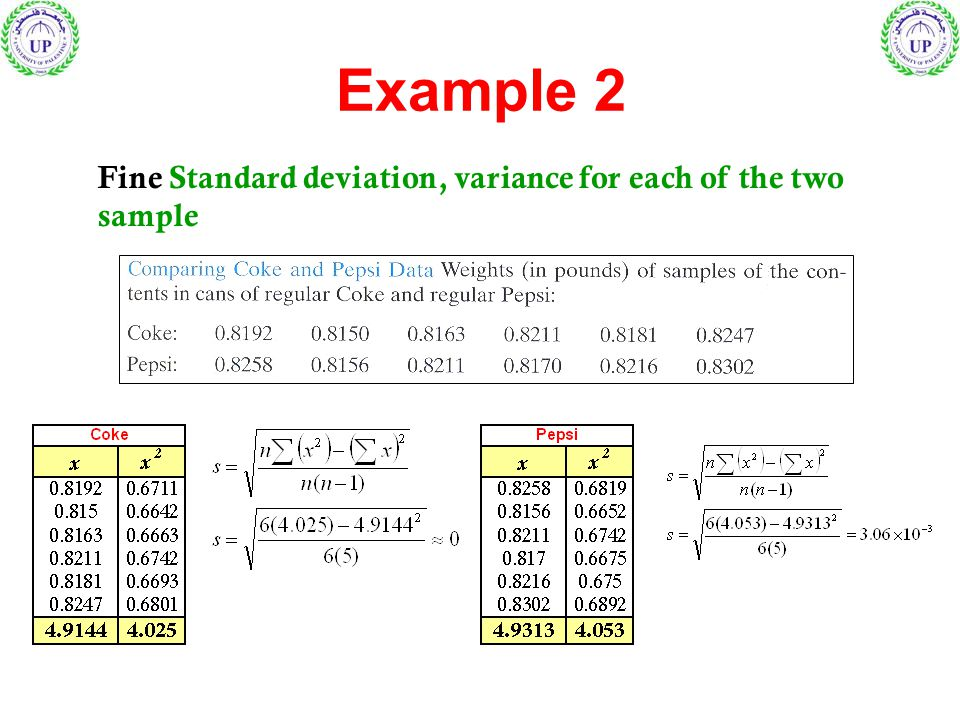 Example 2 Fine Standard deviation, variance for each of the two sample