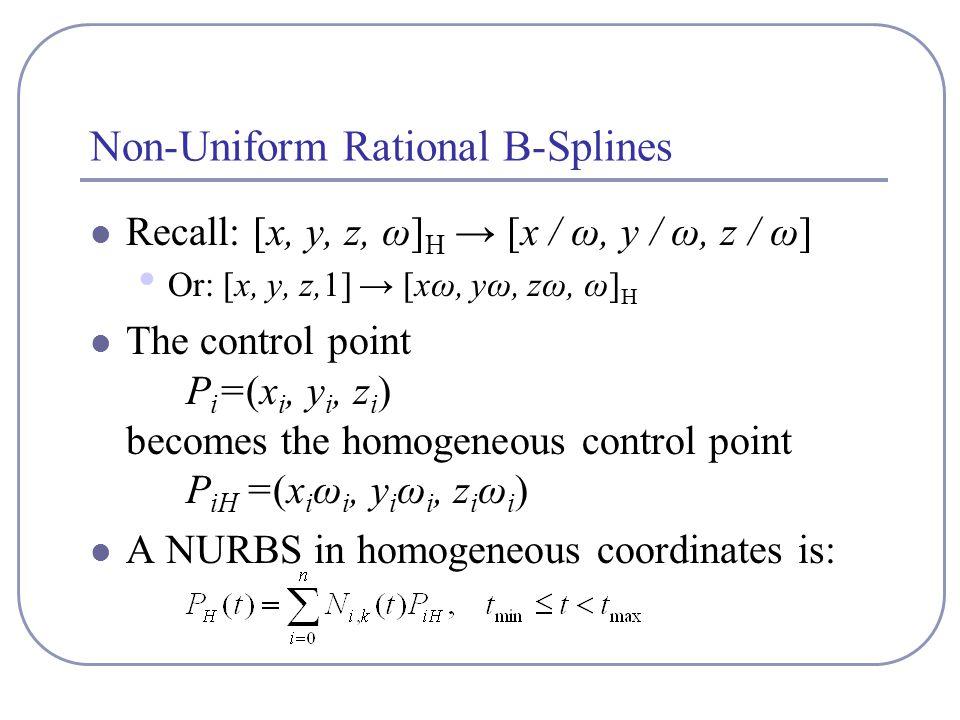 Non-Uniform Rational B-Splines Recall: [x, y, z, ω] H → [x / ω, y / ω, z / ω] Or: [x, y, z,1] → [xω, yω, zω, ω] H The control point P i =(x i, y i, z i ) becomes the homogeneous control point P iH =(x i ω i, y i ω i, z i ω i ) A NURBS in homogeneous coordinates is: