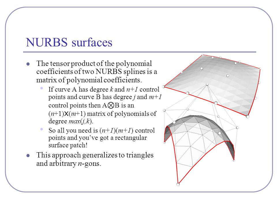 NURBS surfaces The tensor product of the polynomial coefficients of two NURBS splines is a matrix of polynomial coefficients. If curve A has degree k