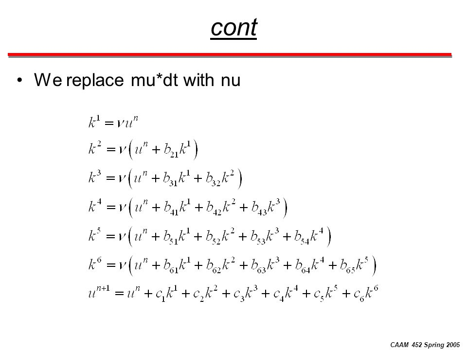 CAAM 452 Spring 2005 cont We wish to remove all the intermediate variables and express the scheme in a one-step form like: Where the multiplier function pi(nu) is a 6 th order polynomial in nu.