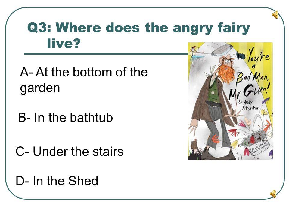 Q2: Where does Mr Gum live? A- Lamonic Bibber B- boondoggle Swazzle C- Furbelow Mimsy D- spanghew yaffle