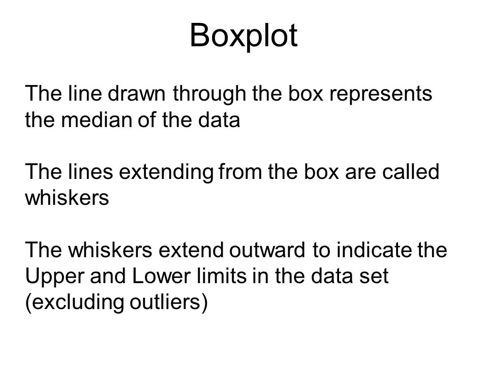 Boxplot The line drawn through the box represents the median of the data The lines extending from the box are called whiskers The whiskers extend outw
