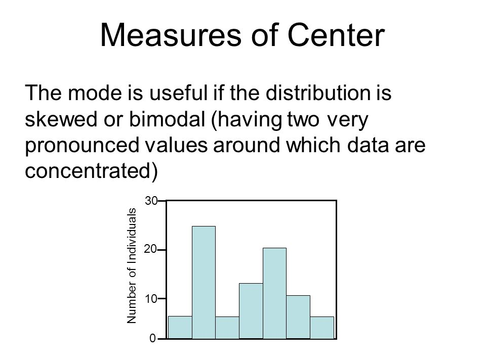 Measures of Center The mode is useful if the distribution is skewed or bimodal (having two very pronounced values around which data are concentrated)