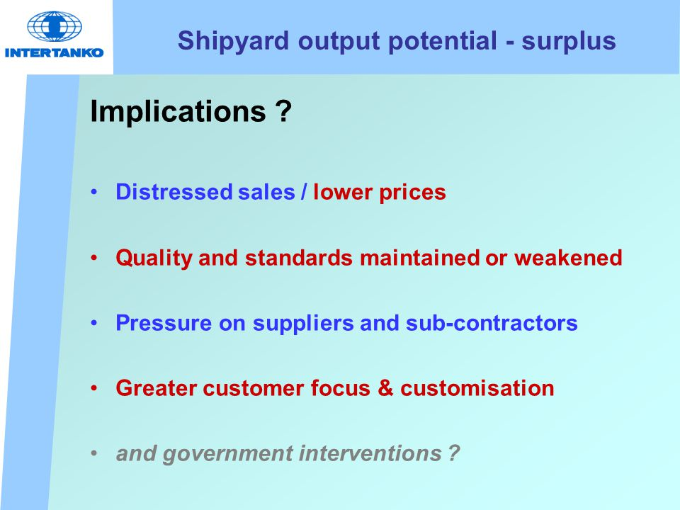 Shipyard output potential - surplus Implications .
