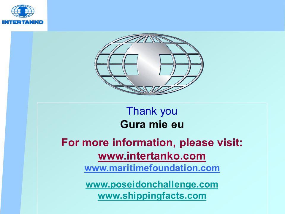 Thank you Gura mie eu For more information, please visit: www.intertanko.com www.maritimefoundation.com www.poseidonchallenge.com www.shippingfacts.com