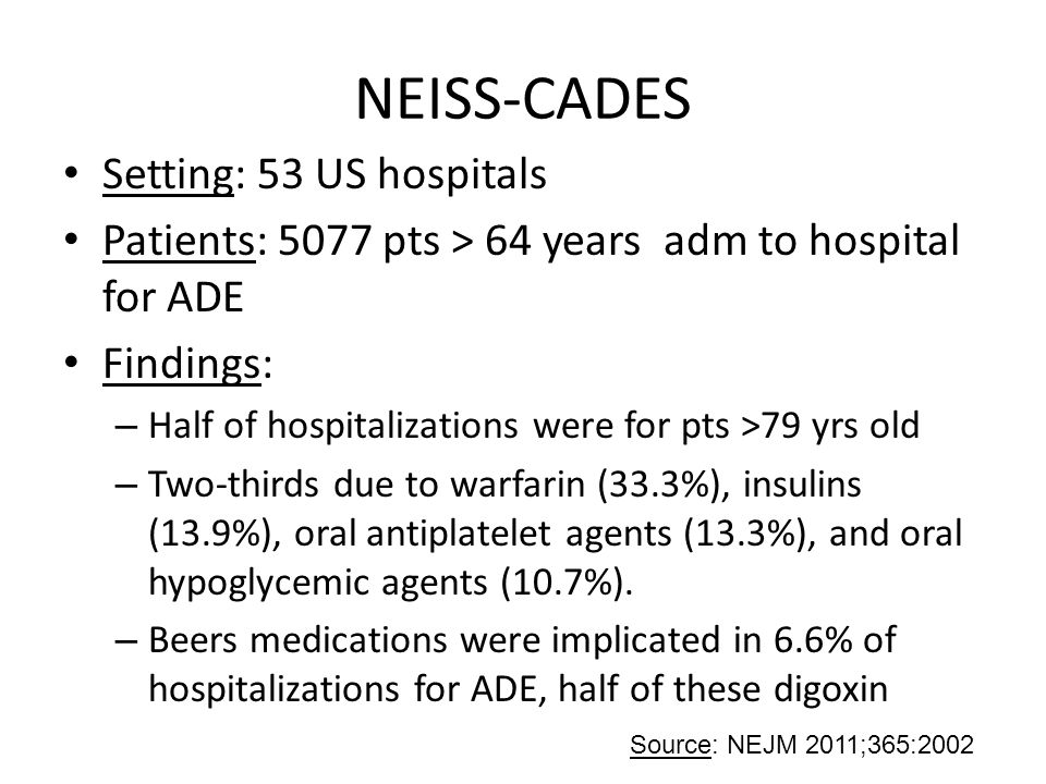 NEISS-CADES Setting: 53 US hospitals Patients: 5077 pts > 64 years adm to hospital for ADE Findings: – Half of hospitalizations were for pts >79 yrs o