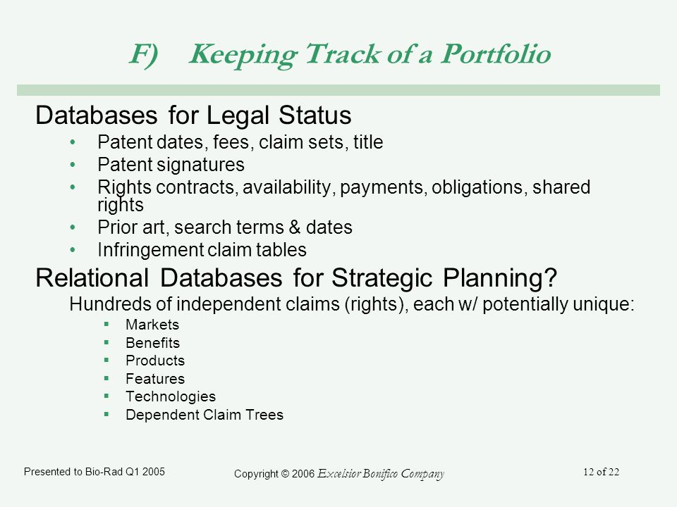 Presented to Bio-Rad Q1 2005 Copyright © 2006 Excelsior Bonifico Company 12 of 22 F) Keeping Track of a Portfolio Databases for Legal Status Patent dates, fees, claim sets, title Patent signatures Rights contracts, availability, payments, obligations, shared rights Prior art, search terms & dates Infringement claim tables Relational Databases for Strategic Planning.
