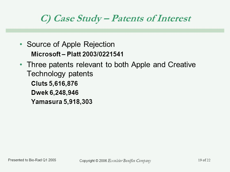 Presented to Bio-Rad Q1 2005 Copyright © 2006 Excelsior Bonifico Company 19 of 22 C) Case Study – Patents of Interest Source of Apple Rejection Microsoft – Platt 2003/0221541 Three patents relevant to both Apple and Creative Technology patents Cluts 5,616,876 Dwek 6,248,946 Yamasura 5,918,303