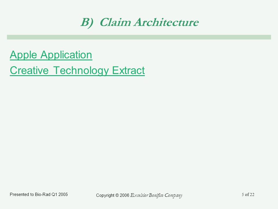 Presented to Bio-Rad Q1 2005 Copyright © 2006 Excelsior Bonifico Company 5 of 22 B) Claim Architecture Apple Application Creative Technology Extract