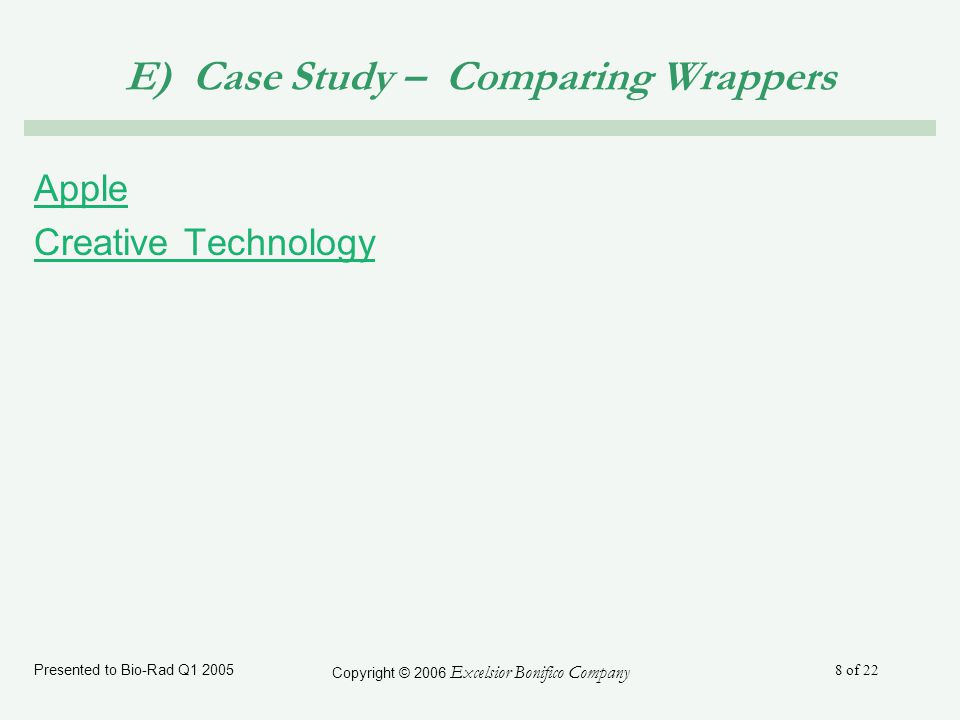 Presented to Bio-Rad Q1 2005 Copyright © 2006 Excelsior Bonifico Company 8 of 22 E) Case Study – Comparing Wrappers Apple Creative Technology
