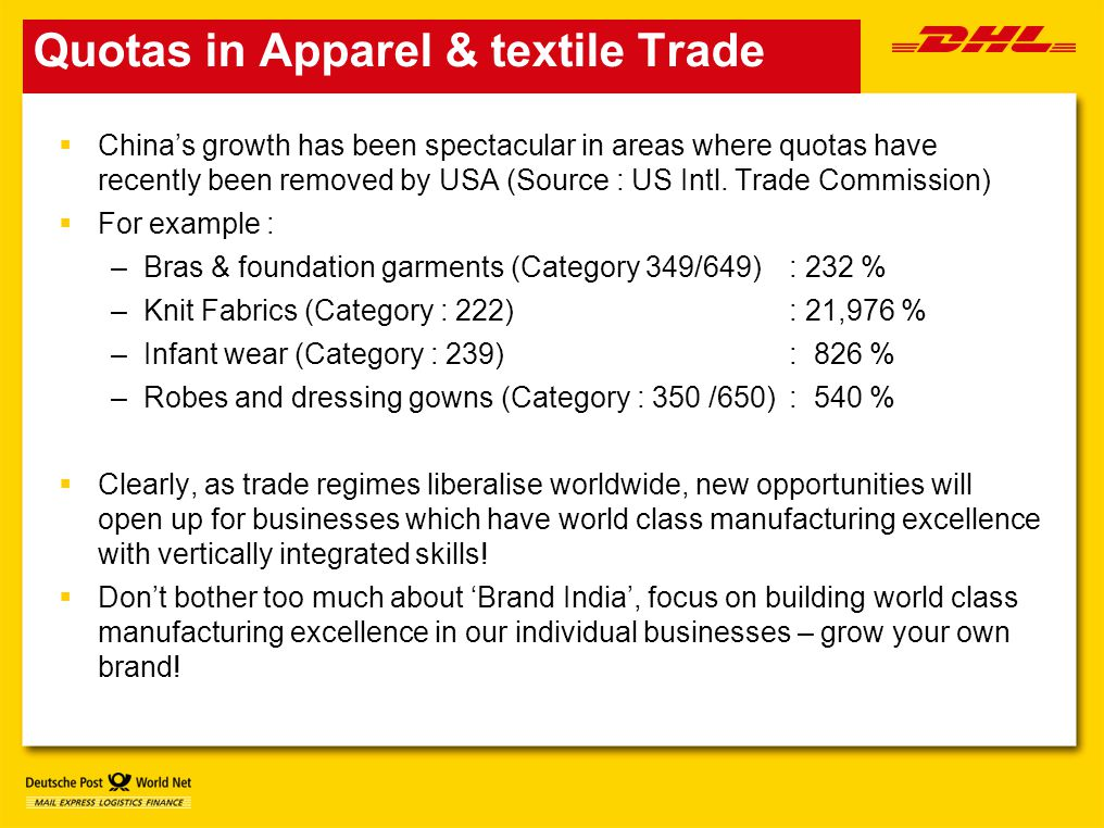 Quotas in Apparel & textile Trade  China's growth has been spectacular in areas where quotas have recently been removed by USA (Source : US Intl.
