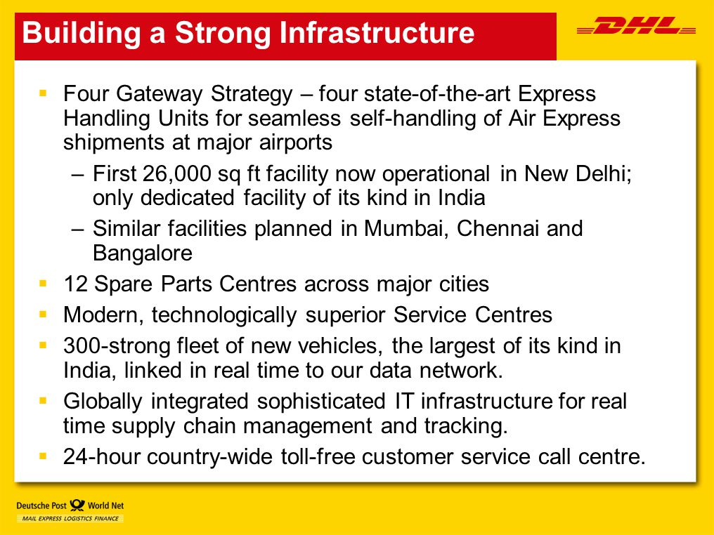 Building a Strong Infrastructure  Four Gateway Strategy – four state-of-the-art Express Handling Units for seamless self-handling of Air Express shipments at major airports –First 26,000 sq ft facility now operational in New Delhi; only dedicated facility of its kind in India –Similar facilities planned in Mumbai, Chennai and Bangalore  12 Spare Parts Centres across major cities  Modern, technologically superior Service Centres  300-strong fleet of new vehicles, the largest of its kind in India, linked in real time to our data network.