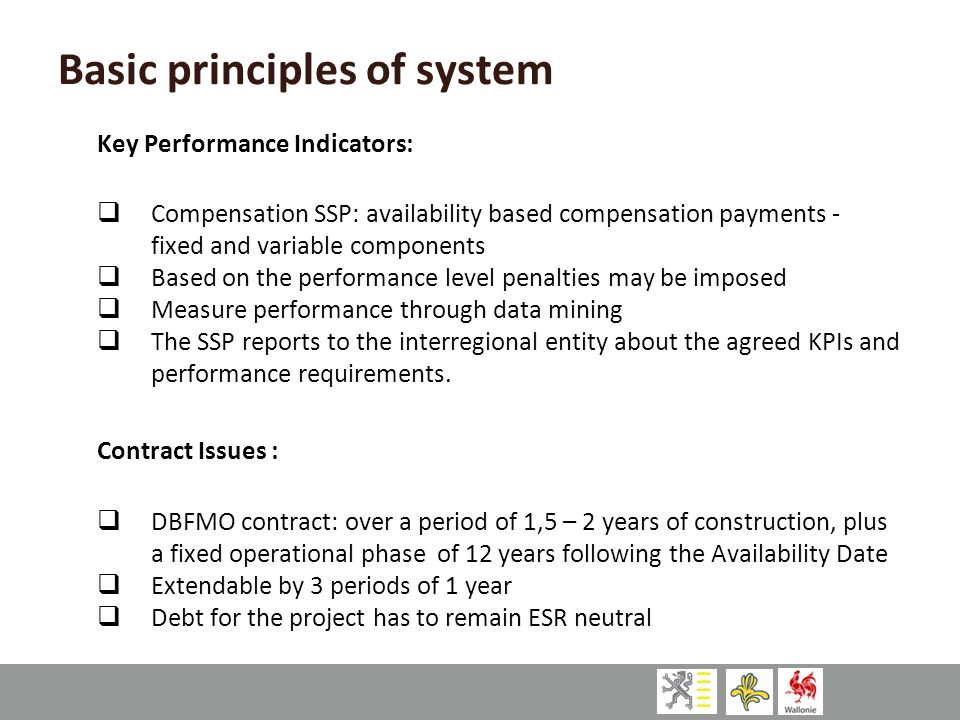 Basic principles of system Key Performance Indicators:  Compensation SSP: availability based compensation payments - fixed and variable components 
