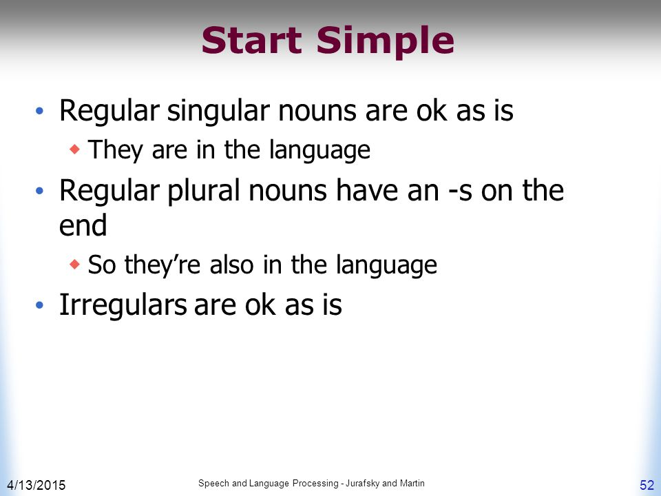 4/13/2015 Speech and Language Processing - Jurafsky and Martin 52 Start Simple Regular singular nouns are ok as is  They are in the language Regular plural nouns have an -s on the end  So they're also in the language Irregulars are ok as is