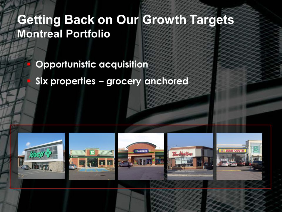  Opportunistic acquisition  Six properties – grocery anchored Getting Back on Our Growth Targets Montreal Portfolio