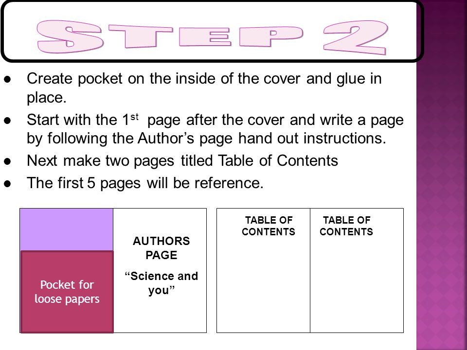 "AUTHORS PAGE ""Science and you"" Create pocket on the inside of the cover and glue in place. Start with the 1 st page after the cover and write a page b"
