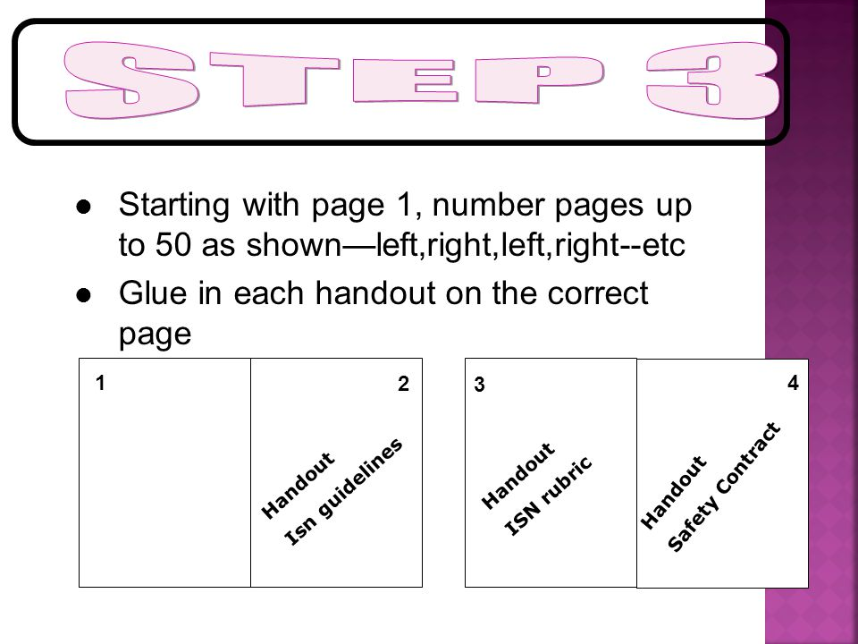 Starting with page 1, number pages up to 50 as shown—left,right,left,right--etc Glue in each handout on the correct page 2 Handout ISN rubric Handout