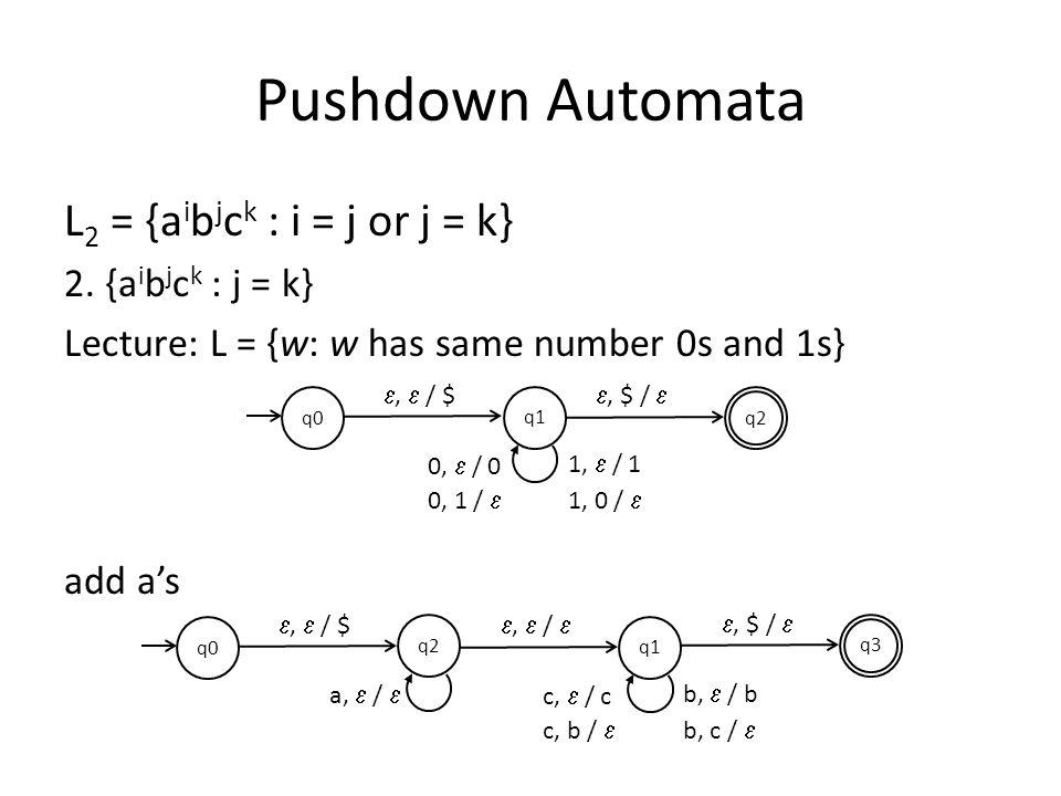 Pushdown Automata L 2 = {a i b j c k : i = j or j = k} 2.