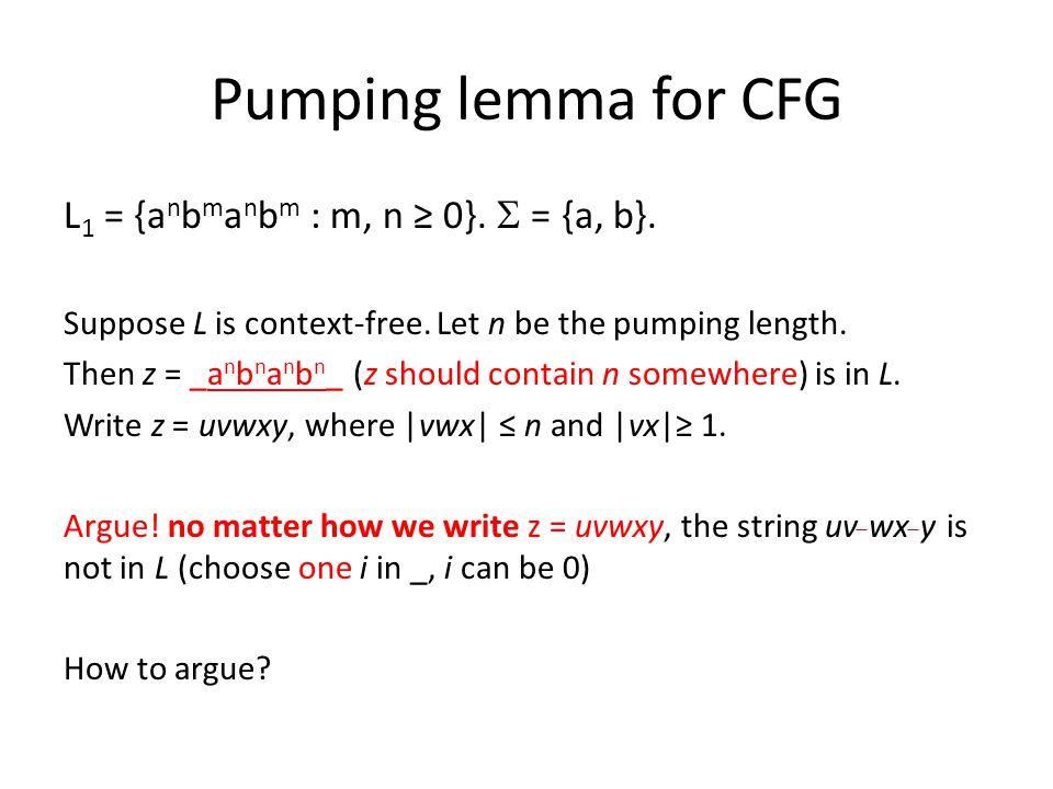 Pumping lemma for CFG L 1 = {a n b m a n b m : m, n ≥ 0}.