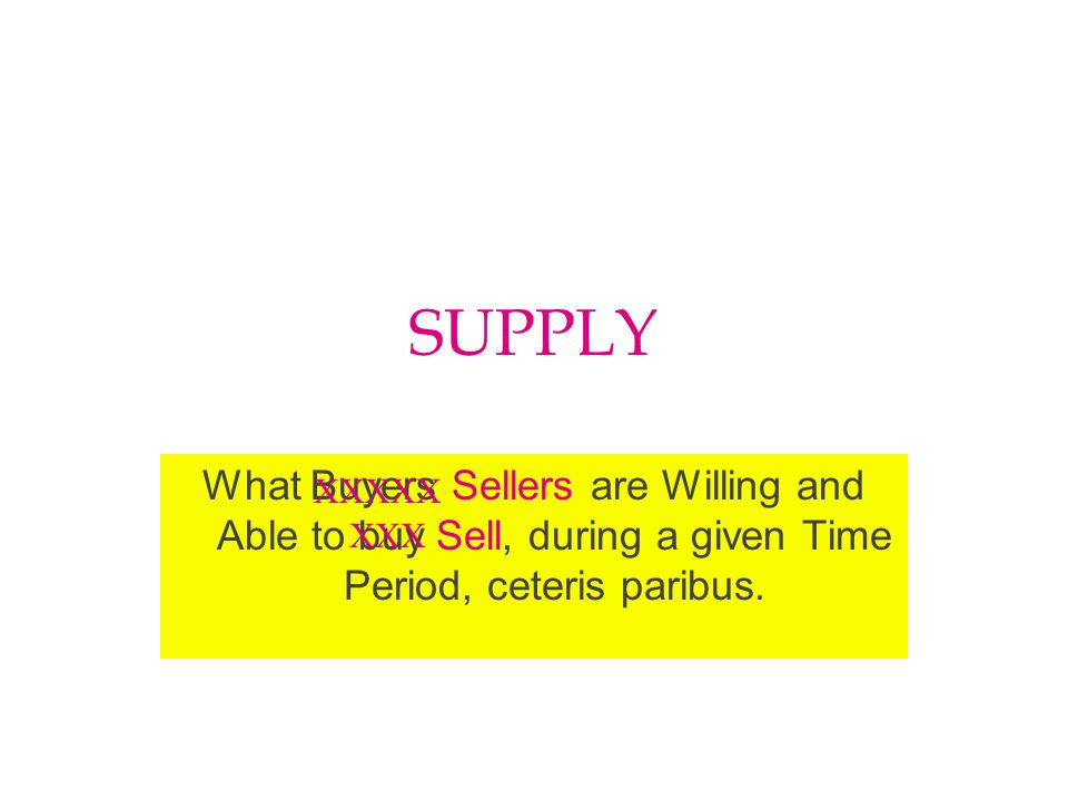 SUPPLY What Buyers Sellers are Willing and Able to buy Sell, during a given Time Period, ceteris paribus.