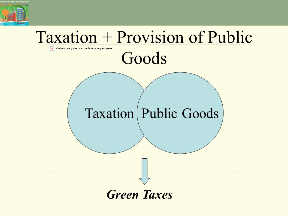 Taxation + Provision of Public Goods TaxationPublic Goods Green Taxes