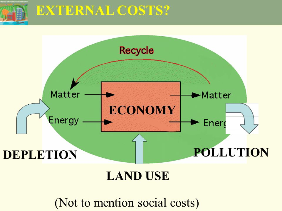EXTERNAL COSTS ECONOMY LAND USE DEPLETION POLLUTION (Not to mention social costs)