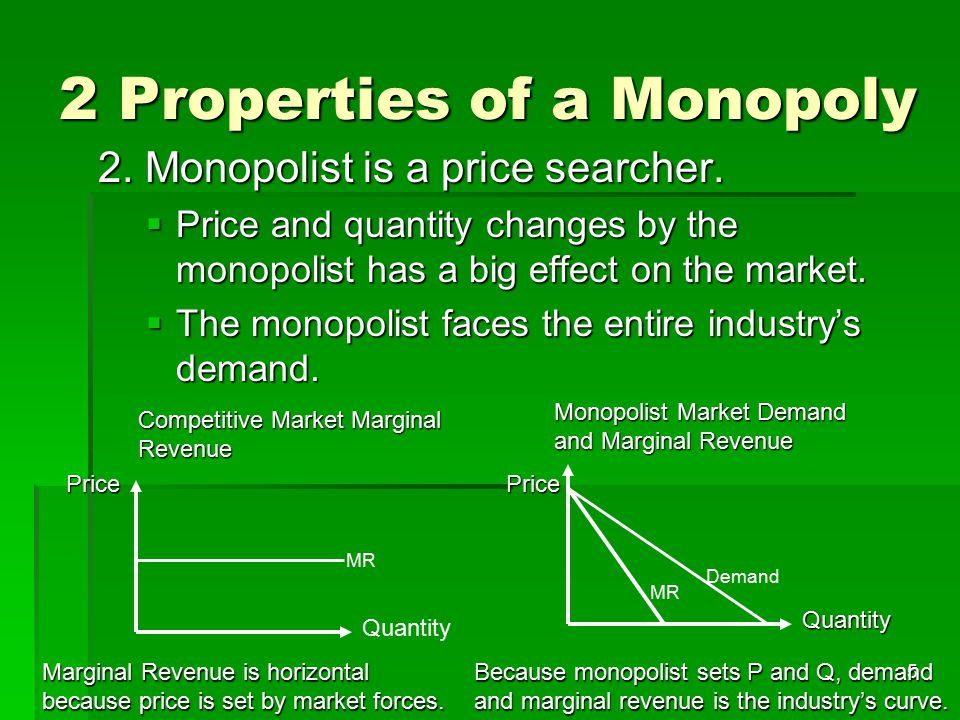 6 Profit maximizing Q and P for a Monopolist: 2 approaches 1.