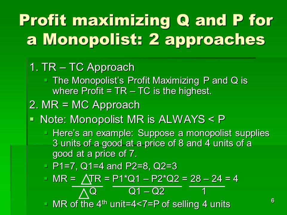 7 Profit maximizing Q and P for a Monopolist  MC = MR for a Monopolist graphically Price/Cost Quantity DemandMR MC MC=MR Qm* Pm* ATC ATC at Qm* Economic Profit Monopolist Profit = TR–TC = (Pm*)Qm*-(ATC at QM*)Qm* = (Pm*-ATC at Qm*)(Qm*)