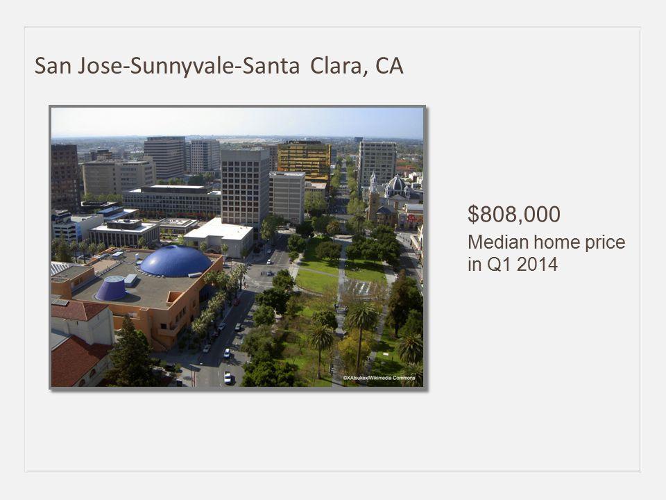 $808,000 Median home price in Q1 2014 San Jose-Sunnyvale-Santa Clara, CA